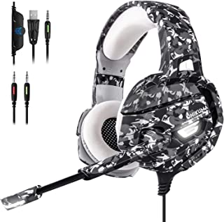 ECOOPRO Gaming Headset with Mic for PS4, PC, Nintendo Switch, Xbox One Headset 50mm Driver & 3.5mm Surround Stereo, Gaming Headphone with Noise Cancelling Microphone, Soft Memory Earmuffs, LED Lights