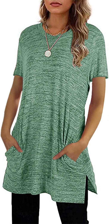 Women Tunic Tops Crewneck Solid Color T Shirts Fashion Hem Pocket Short Sleeve Side Split Easy Soft Blouses