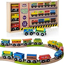 Wooden Train Set 12 PCS Box with Cover - Train Toys Magnetic Set Toy Train Sets for Kids Toddler Gift for Christmas and Birthday for Boys