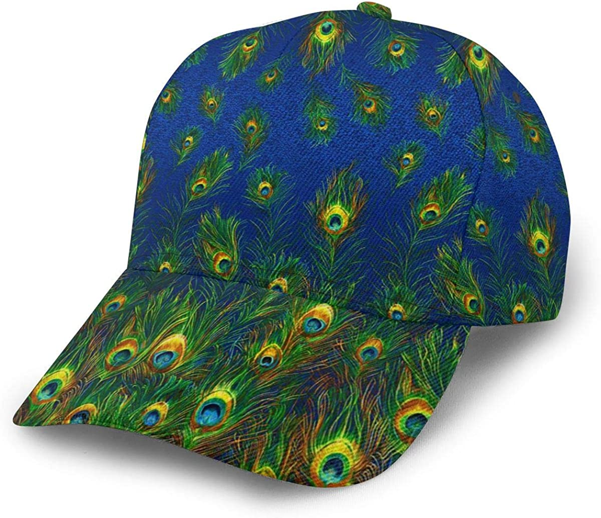 Baseball Cap Blue Peacock Feathers Print Dad Caps Hat Circular Top Classic Fashion Casual Adjustable Sport for Women Hats