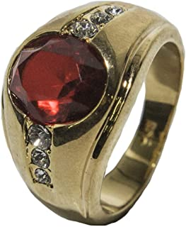 Men's 18 KT Gold Plated Red Austrian Crystal Dress Ring 030