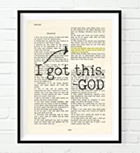Vintage Bible Page Verse Scripture - I Got This - God - Psalm 55:22 Christian Art Print, Unframed, Cast Your Cares on the Lord and He Will Sustain You, Christian Wall and Home Decor, All Sizes