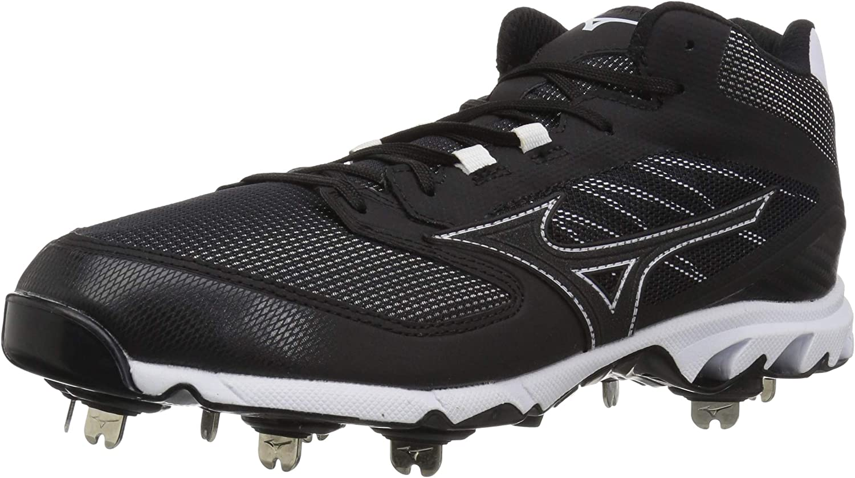 Mizuno Mens 9-Spike Dominant Ic Mid Metal Baseball Cleat Baseball shoes