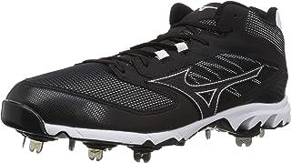 Mizuno Men's 9-Spike Dominant IC Mid Metal Baseball Cleat Athletic Shoe, black/white