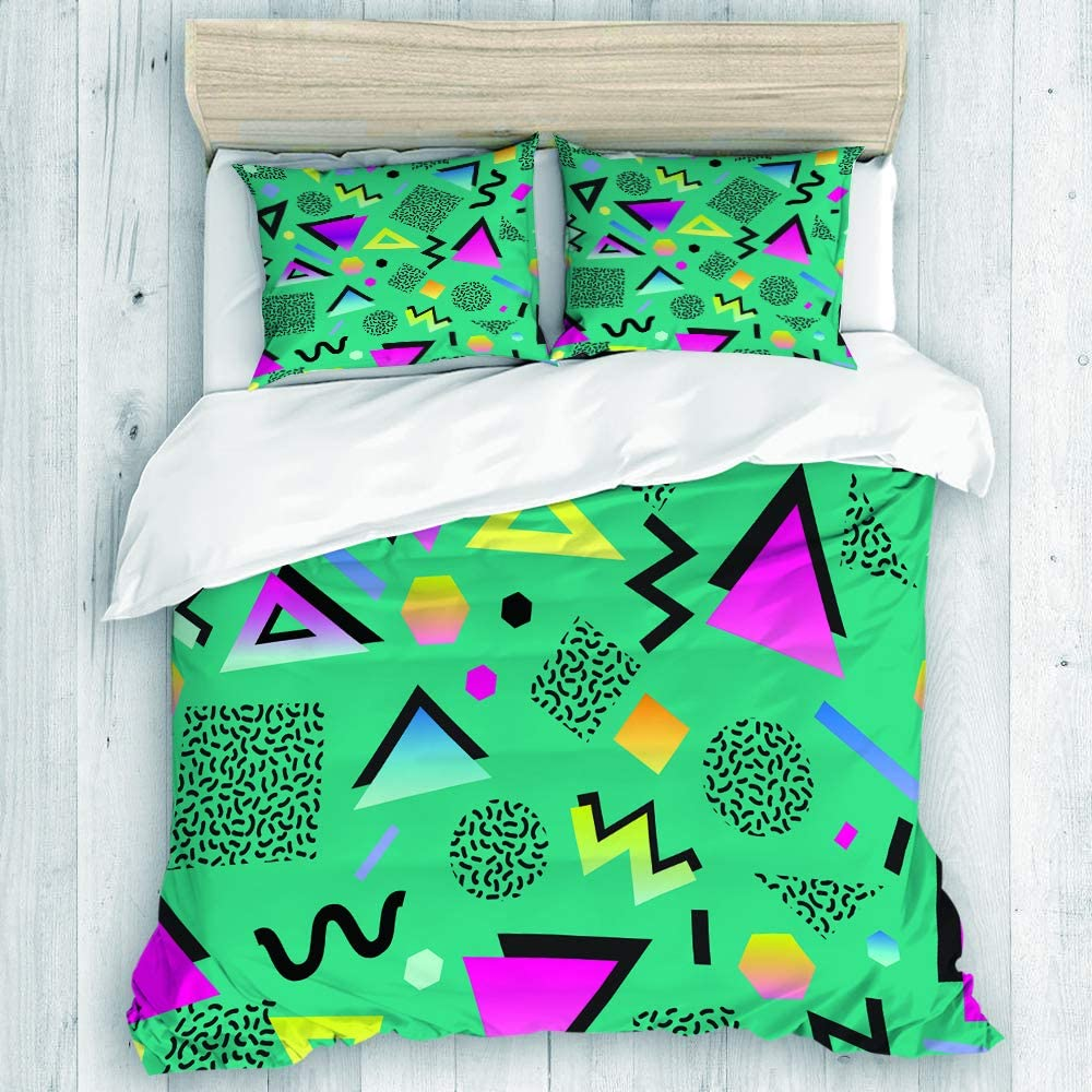 Amazon Com Dahallar Duvet Cover Set Colorful 1980s Retro Vintage 80s 90s Style Abstract Good Design And Green 1990s Decorative 3 Piece Bedding Set With 2 Pillow Shams Queen Size Home Kitchen