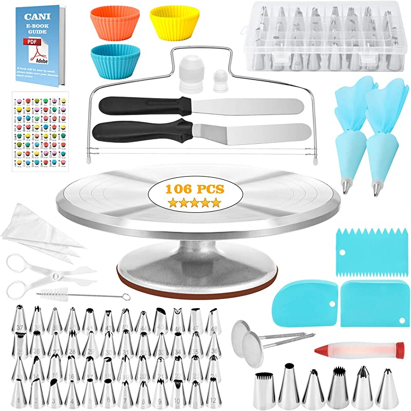 CANI 106 PCS Cake Decorating Supplies Kit Aluminium Rotating Turntable Stand Frosting Piping Tips Icing Spatula Scraper Smoother Flower Nails Cutter Disposable Pastry Bags Pro Baking Tools