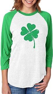 Clover St Patrick's Day Irish Shamrock 3/4 Women Sleeve Baseball Jersey Shirt