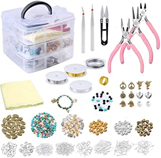 Jewelry Making Supplies Kit Includes Charms, Beads for Bracelets, Pliers, Findings,Necklaces, Bead Wire,Earrings, Beading Kit, DIY Crafts for Adults, Teenagers & Teen Girls