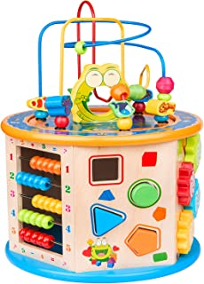 BATTOP 8 in 1 Multifunction Wooden Activity Cube Toys,Large Baby Educational Wooden Bead Maze Toys for 1 Year Old Boys & Girls Activity Center, Great Gift Toys for Little Girls & Boys Age 1、2、3、4、5、6