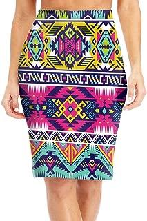 Womens High Waist Bodycon Midi Pencil Skirt Aztec Neon Colors Tribal Classic Slim Skirt