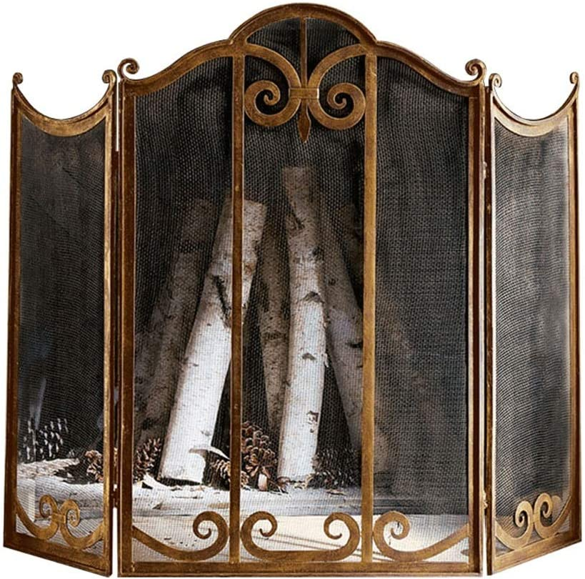 Fireplace Large special price Screens Gold Screen Finally popular brand Ornate Wro 3 Panel