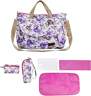 larsuyar Cotton 6 Pieces Nappy Tote Bag Set, Baby Diaper Bags for Girls,7-inch By 16.54-inch By 26-inch (Purple)