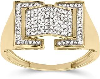 FB جواهر الذهب الأصفر عيار 10 قيراط للرجال جولة الماس المقوس الأزياء الدائري 1/4 Cttw الحجم 10 (الحجر الأساسي: SI3 وضوح؛ ...