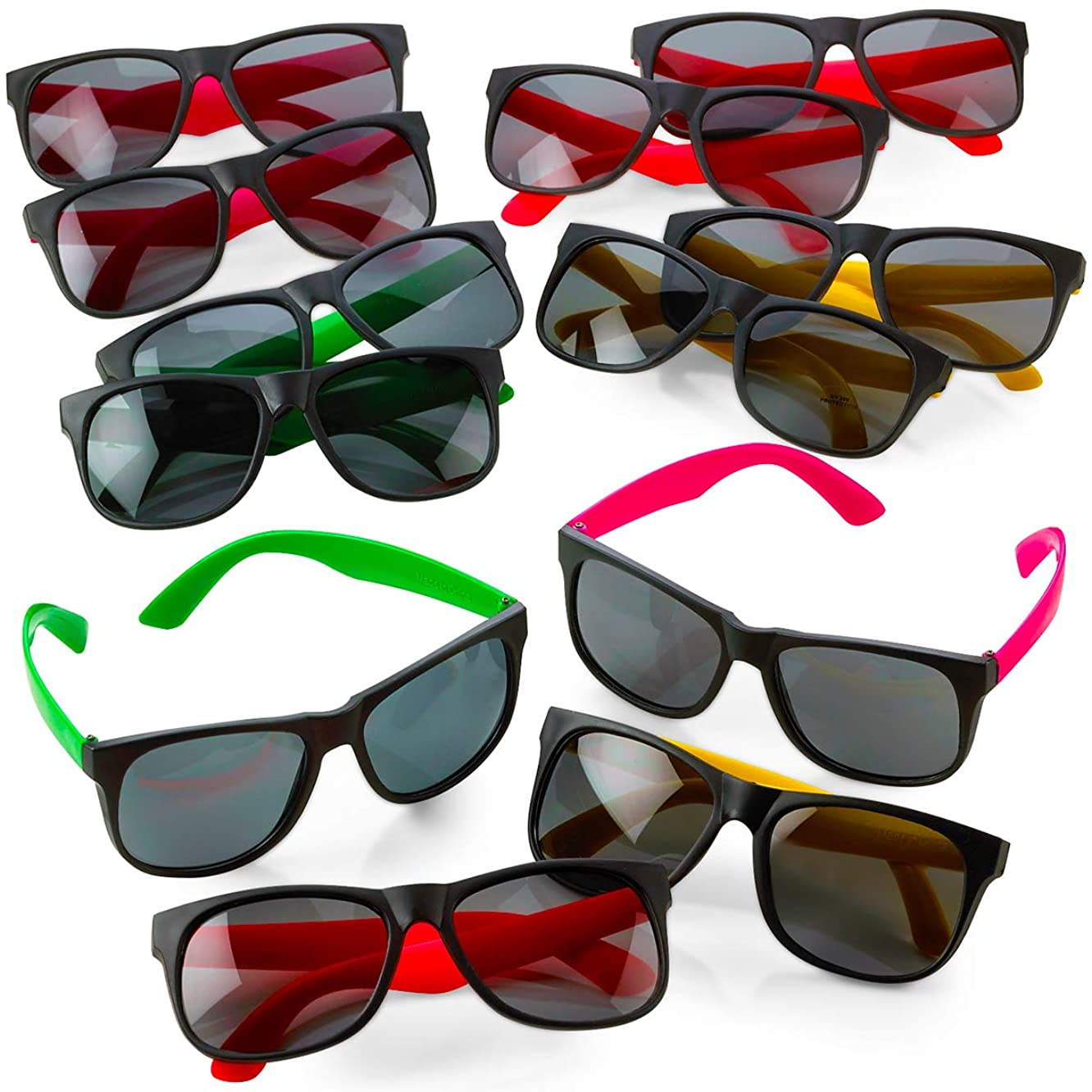 Kicko Neon Sunglasses with Dark Lenses - 12 Pack 80's Style Unisex Aviators in Assorted Colors - Gifts, Toys, Costume Props, Party Favors, Class Rewards, Getaway Accessories for Kids and Adults Alike
