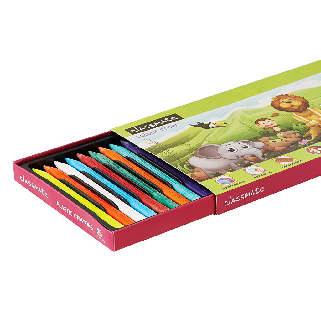 Classmate for Kids Color Crew Plastic Crayons 26 Shades, Crayons Length 110 mm