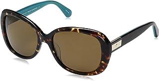 نظارات شمسية بيضاوية للنساء من Kate Spade Judyann/p/s هافانا تركواز/ برونزي، 56 mm
