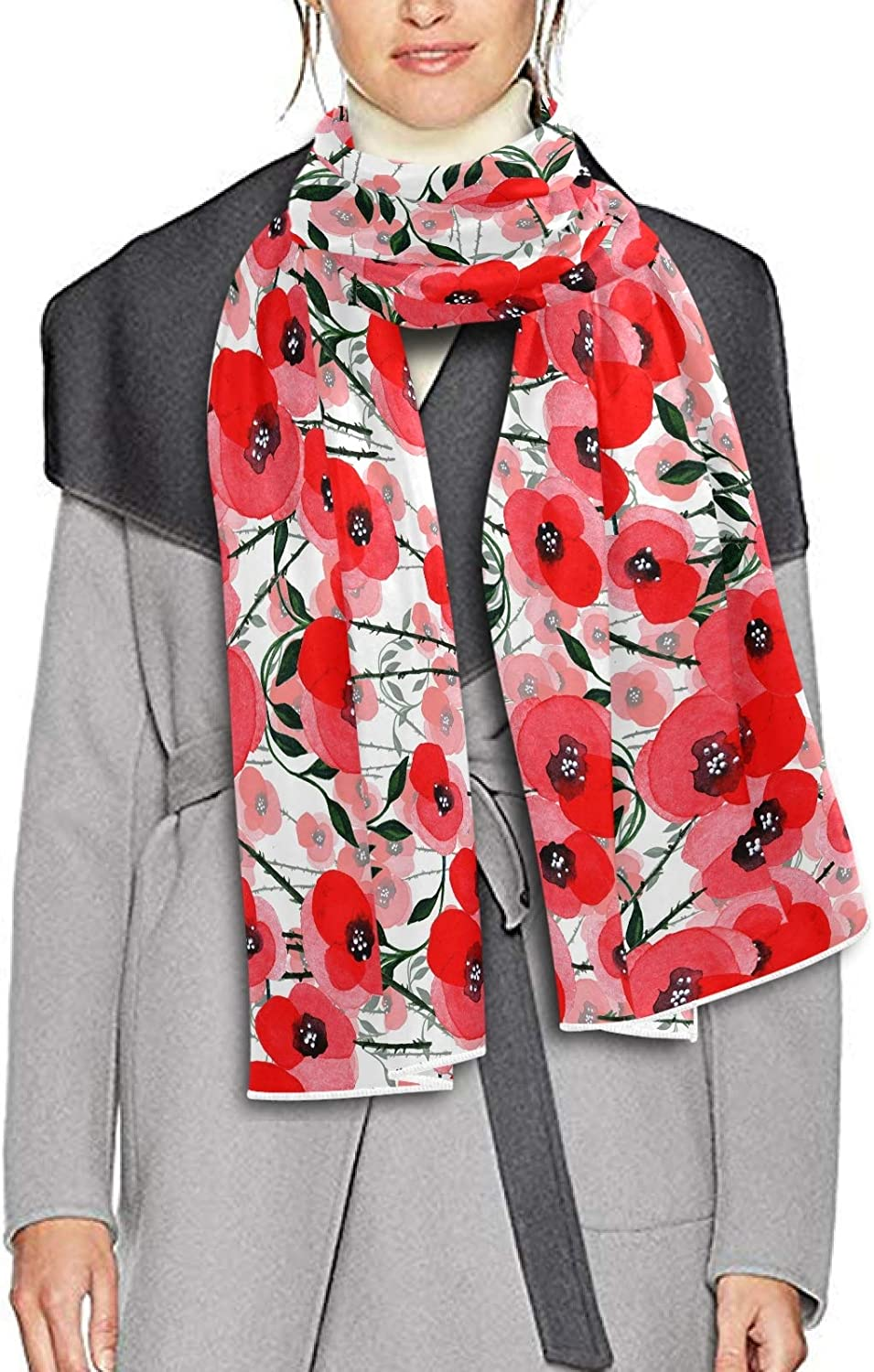 Scarf for Women and Men Wildflower Poppy Blanket Shawl Scarves Wraps Thick Soft Winter Oversized Scarf Lightweight