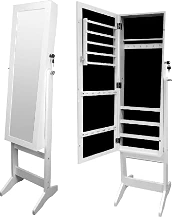 CLASS Floor Jewelry Cabinet with Full Length Mirror, White, 110 x 41 x 18 cm