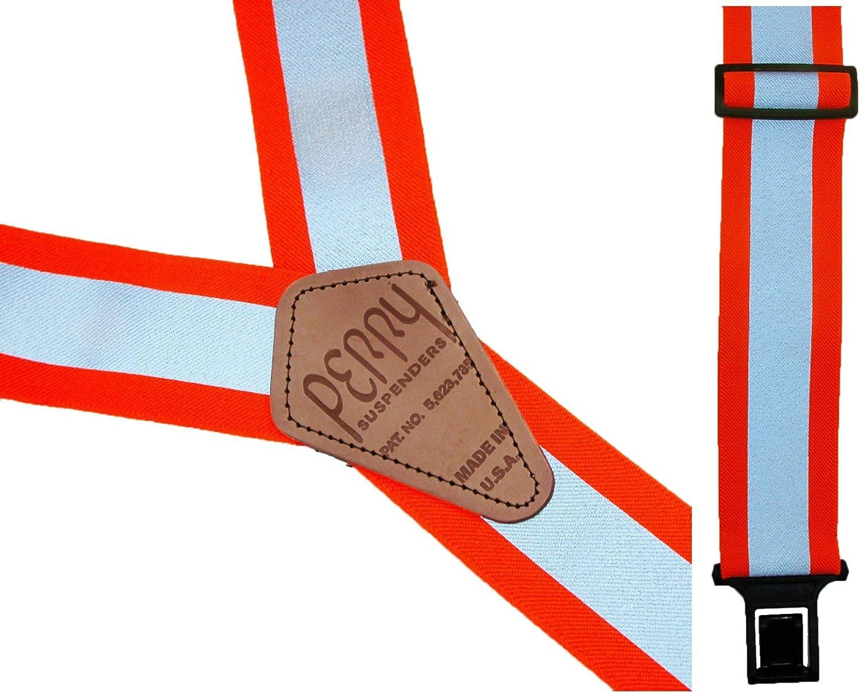 Perry Suspenders Big & Tall Elastic Hook End Reflective Suspenders