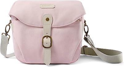 Camera Bag, BAGSMART SLR DSLR Canvas Camera Case, Vintage Padded Shoulder Bag with Rain Cover for Women and Men, Pink
