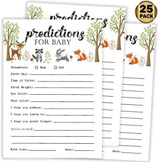 25 Advice and Prediction Cards for Baby Shower Game, New Mom and Dad Card or Mommy and Daddy To Be for Girl or Boy Babies, New Parents, Fun Gender Neutral Shower Party Favors, Woodland Animals Party.