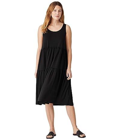 Eileen Fisher Knee Length Tiered Dress in Organic Handkerchief Linen