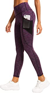 Women Yoga Leggings Power Flex Mesh Pocket Mid-Waist Gym Running Tights 60127