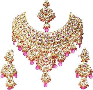 Retailbees Zircon Neckalce Ethnic Bridal Wedding Gold Plated Jewelry For Women