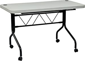 Office Star Resin Multi-Purpose Flip Table with Locking Casters, 4-Feet Long