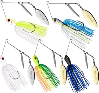 Goture Double Willow Blade Spinnerbait - Metal Spinner Fishing Lures for Bass Pike Trout 3/8oz