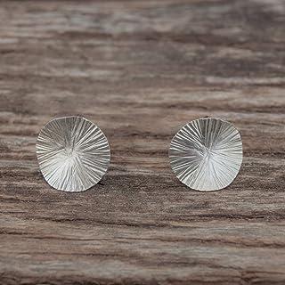 Pendientes plata mujer discos irregulares con textura.