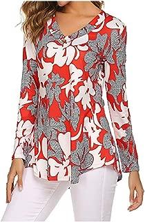 neveraway Women Blouse V Neck Paisley Printed Long Sleeve T Shirts Tops