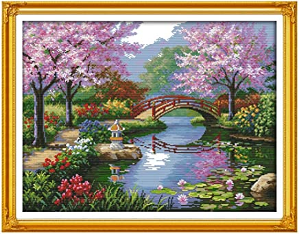 Anself Scenery of Park Pattern DIY Embroidery Kit Cross Stitch for Home Decor 57 45cm