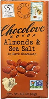Chocolove 55 Percent Cocoa Almond and Sea Salt Dark Chocolate Bar, 3.2 Ounce -- 12 per case.