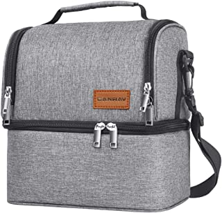 Insulated Lunch Bag, Dual Compartment Lunch Tote Box Leak-proof Bento Organizer, Double Deck Cooler for Men, Women,for Office/Picnic/Travel/Camping (Gray)