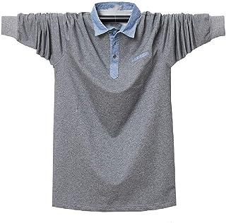 HEFASDM Men Long Sleeve Loose Fit Plus Size Turn-down Collar Tees Polo Shirt