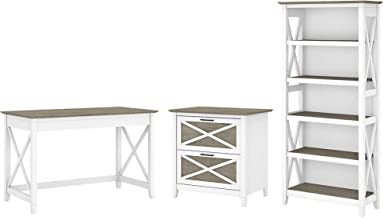 Bush Furniture Key West Writing Desk with 2 Drawer Lateral File Cabinet and 5 Shelf Bookcase, 48W, Pure White and Shiplap ...