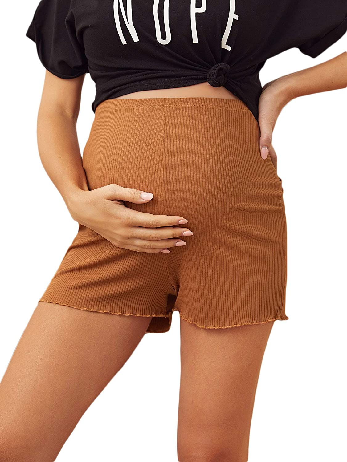 MakeMeChic Womens Maternity Workout Athletic Over The Belly Yoga Pregnancy Short