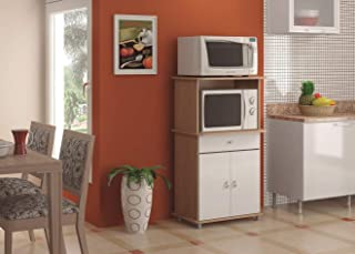 Ditalia Wooden Double Door Kitchen Cabinet With One Drawer and Microwave Compartment, Brown/White with Assembly