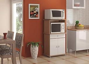 خزانة مطبخ بباب مزدوج مع درج واحد ومقصورة للميكروويف، باللون البني/الابيض