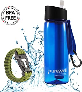 Purewell Filter Water Bottle BPA Free with 4-Stage Intergrated Filter Straw for Camping, Hiking, Backpacking and Travel …