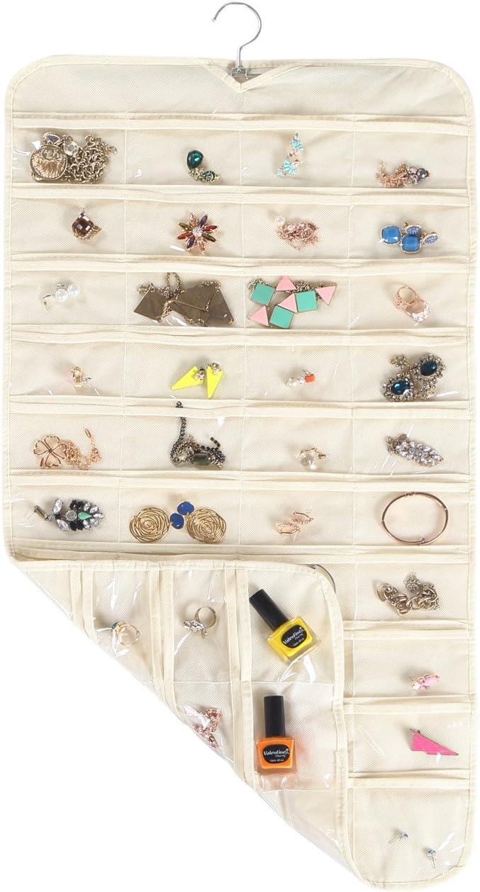 Necklaces Bracelets MotGlobal Hanging Jewellery Organiser 80 Pockets Double Sided Wardrobe Storage for Earrings 17 W*34 H, Beige