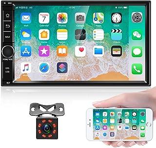 Android 8.1 Autoradio Stereo Empfänger, Doppel Din 7'' HD Touchscreen Kopfeinheit, Unterstützung Bluetooth Dual System Mirror Link eingebaut GPS WiFi + 8 LED Leuchten Backup Kamera