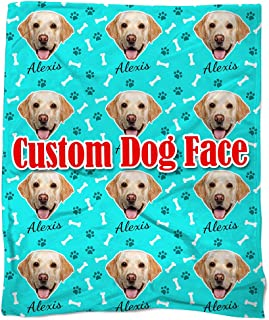 Nictimeid Your Dog Face Print on Blanket Throws - Custom Dog Mom Dad Gifts Blanket, 50