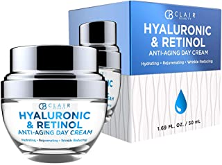 CLAIR BEAUTY Hyaluronic & Retinol Anti Aging Day Cream - Hydrating & Rejuvenating | Reduces Appearance Of Wrinkles, Crease...