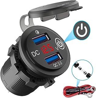 QC 3,0 USB-uttag 12 V bil med strömbrytare, billaddare USB installation uttag vattentät cigarettändare box med röd LED vol...