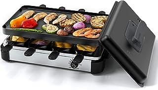Grill à raclette Muchen 1200W avec couvercle, pour grill électrique, grill de table électrique pour 8 personnes, avec uste...