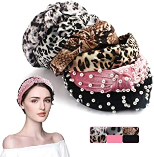 Leopard Pearl Headbands for Women, Knotted Headbands for Women, Leopard Wraps Headbands for Women, Thick Wide Pearl Headbands for Women