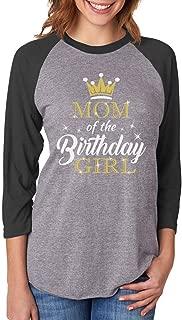 Tstars Mom of The Birthday Girl Outfit Mommy 3/4 Women Sleeve Baseball Jersey Shirt