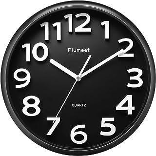 Plumeet 13'' Large Wall Clock – Silent Non-Ticking Quartz Wall Clocks for..